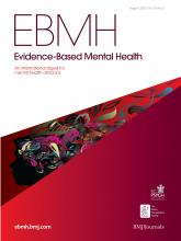 Evidence Based Mental Health: 15 (3)